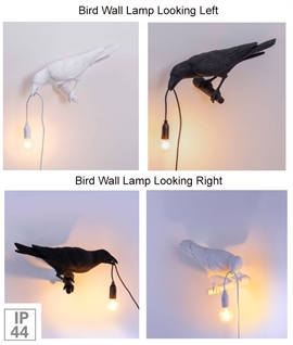 Bird Wall Lamp Facing Left or Right IP44 Rated
