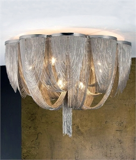 Contemporary Fine Metal Bag & Tail Flush Chandeliers - Two Sizes