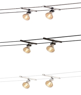 Simple Adjustable Spotlights for Tension Wire System - Twin Pack