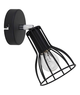 Single Black Metal Cage Adjustable Spotlight