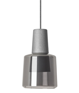 1970s Style Pendant in White or Grey with LED