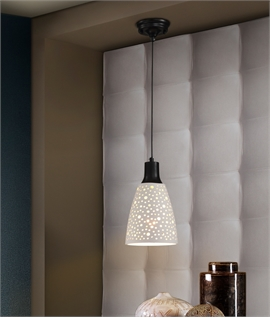 Single White LED Pendant with Speckled Shade
