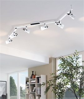 White Modern Adjustable 6 Light Spot Bar