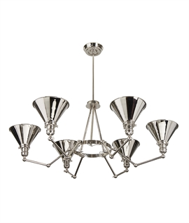 Industrial-Style Chandelier - 6 Adjustable Arms