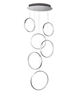 Six Ring LED Multi-Drop Ceiling Light