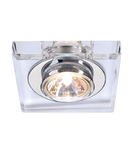 Decorative Square Crystal Glass Fixed Recessed Downlight