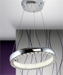 LED High Chrome & Crystal Pendant