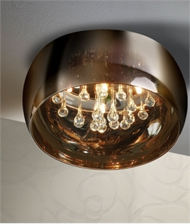Flush Ceiling Light - Barrel-Shaped Smoked Glass with Elongated Crystal Drops