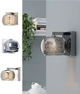 Compact Modern Wall Light with Mirrored Glass and Glass drops - Chrome