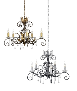 5 Light Elegant Rococo Style Chandeliers - Crystal Adorned