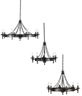 Smaller Sized Wrought Iron Chandeliers in Romanesque Style - Graphite Black Finish