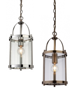 Smaller Chain-Hung Cylinder Glass Hall Lantern