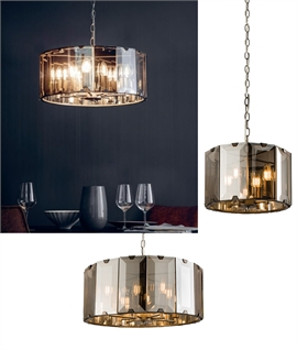 Suspended Glass Drum Pendant Light in Smoked Glass