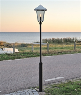 Classic Lamp Post With Smoked Glass Lantern