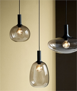 Organic design smoked glass light pendants - 3 styles