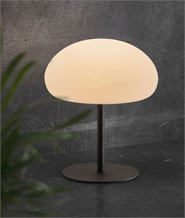 Opal Globe & Black Stand Table Light - Rechargeable