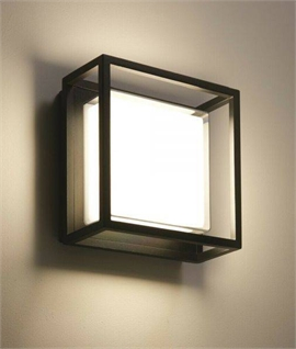 Square Frame Exterior LED Wall Light with Diffuser