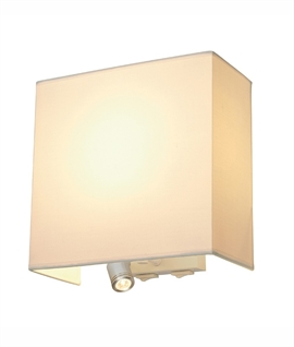 Square Shaded Silver Wall Light & Pivoting LED