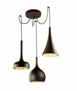 Dark Brown & Copper Interior Triple LED Pendant