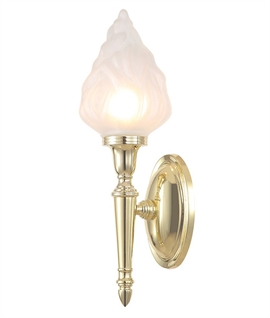 Bathroom Wall Light with Frosted Satin Flame Glass