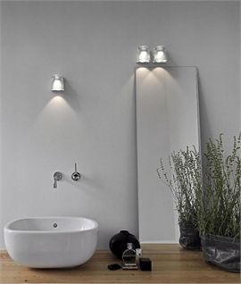 Glass Block Bathroom Wall Light - Tiltable with LED Lamp
