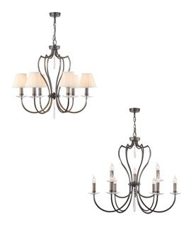 Stylish 6 Light Chandelier with Cut Glass Sconces