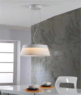 Tapered Drum Pendant Light Modern Fabric Design - Dimmable