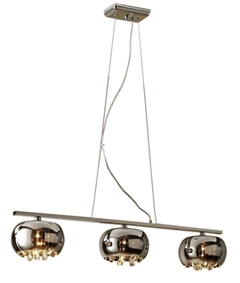 3 Light Bar with Barrel-Shaped Smoked Glass with Elongated Crystal Drops