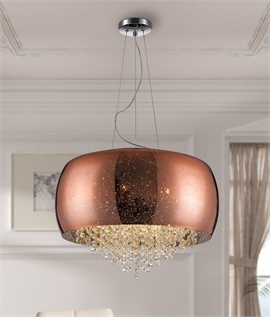 Copper Glass Drum Pendant with Crystal Detailing