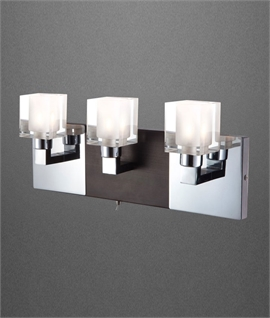 Rich Coloured Triple Wall Light with Chrome Detail