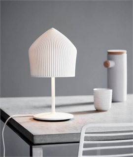 Table Lamp With Pencil Pleat Ceramic Shade