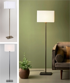 Floor Standing Lamp - Square Stem in Nickel Or Bronze Finish