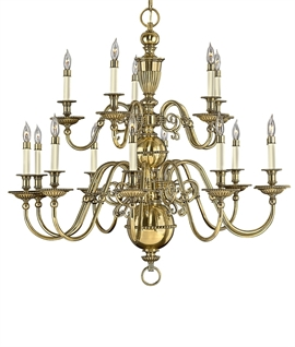 Tiered Flemish Burnished Brass Chandelier - Two Sizes