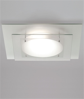 Tiered Glass Square Ceiling Light IP44 Rated