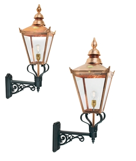 Larger Bracket Mounted Wall Lantern - Classic Copper Gasolier Design