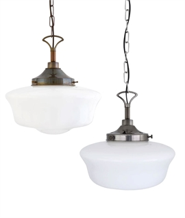 Vintage Schoolhouse Style Duplex Glass Light Pendant - Suitable for Bathrooms