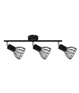 Black Adjustable Spot Bar with 3 Cage Shades