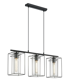 Triple Hanging Bar Light with Cylindrical Glass & Frame