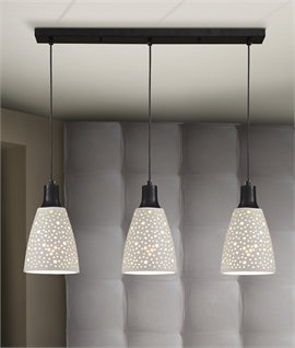 Triple Bar Pendant with White Speckled Shades