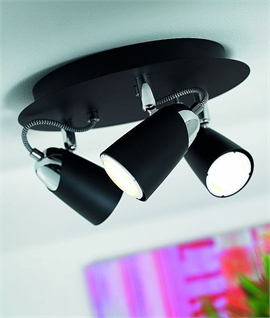 Triple Spotlight on Round Ceiling Plate - Energy Saving