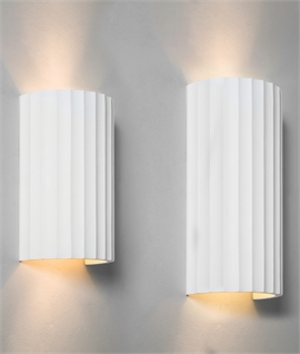 Natural Plaster Wrap-Around Wall Light - Fluted Design