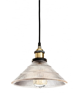 Vintage Reeded Glass Fluted Ceiling Pendant