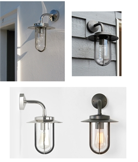 Exterior Wall Lantern in Chrome or Bronze Finish