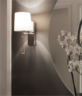 Chrome Stem Wall Light With Glass Detail - 3 fabric shade options