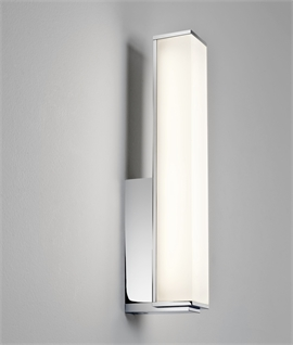 Modern LED Bathroom Wall Light - Opal Diffuser On Low Profile Chrome Mount