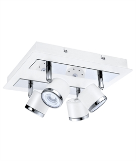 White, Chrome & Mirror LED Adjustable Spot Plate