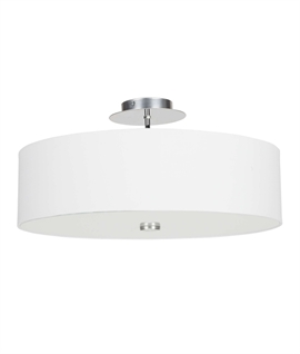 Flush mounted drum pendants lighting styles fabric shaded modern semi flush light with glass diffuser aloadofball Choice Image