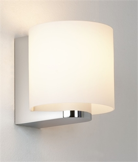 Wrap-around Opal Glass Wall Light on Chrome Bracket - Bathroom Safe