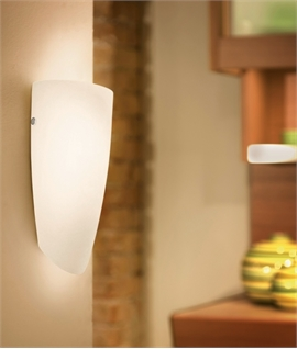 White Opal Glass and Nickel Wall Light