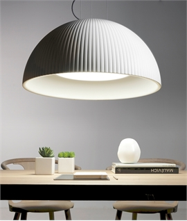 White Ribbed Colour Changing LED Dome Pendant with Diffuser
